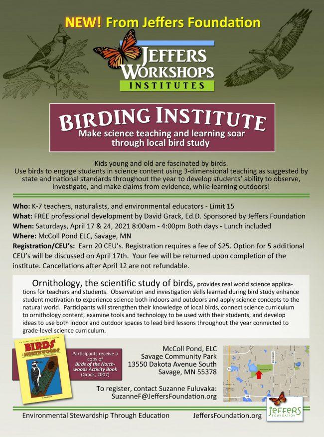 Birding Institute spring 2021 flyer